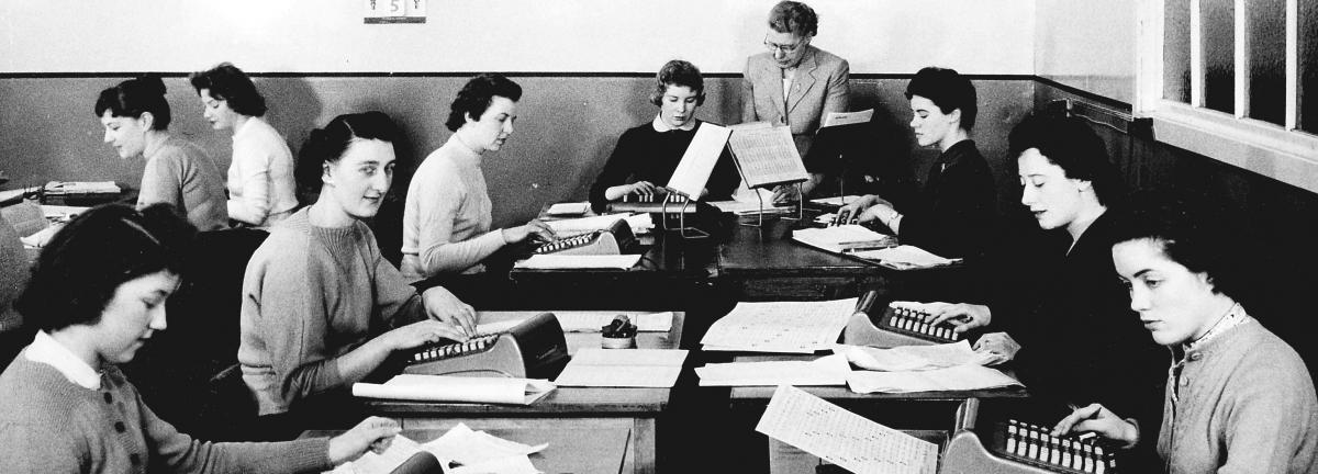 Group of female stenographers at work in an office, c 1950 (National Records of Scotland, GD58/21/2/5)