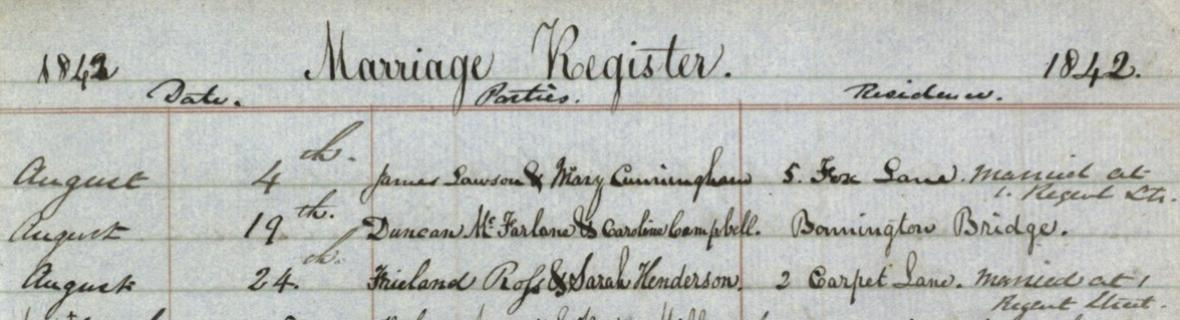 Detail from a page of a marriage register, 1842
