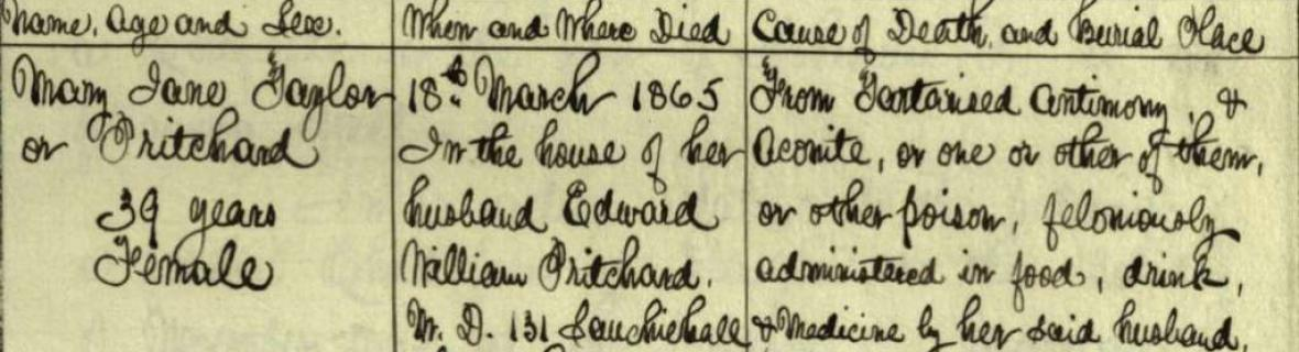 Detail of Register of Corrected Entry for Mary Jane Pritchard's death
