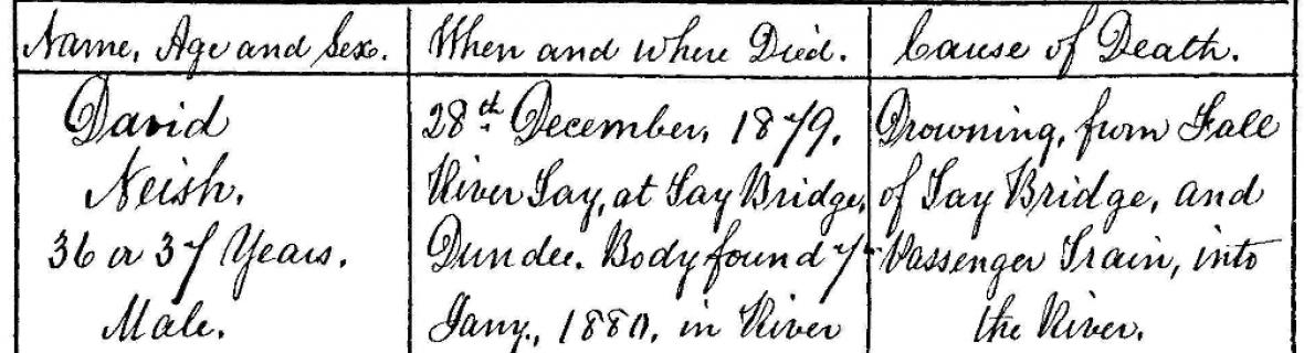 Detail of Register of Corrected Entry for David Neish