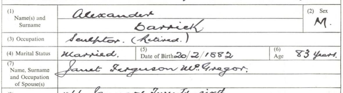 Detail of the death entry for Alexander Carrick, 22 January 1966
