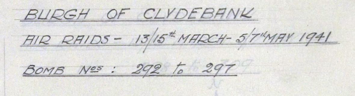 Title from the Burgh of Clydebank air raids bomb map