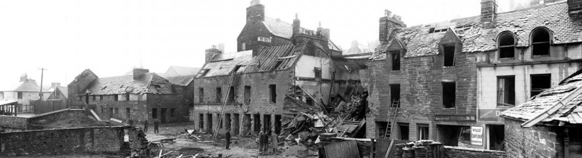 A photograph of the damage done to Bank Row, Wick, following bombing on 1 July 1940