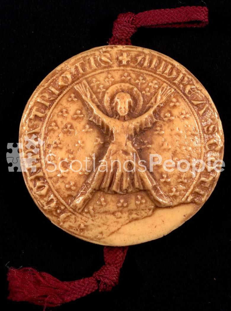 Facsimile of the seal of the Guardians of Scotland showing St Andrew on the cross