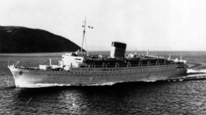 A photograph of RMS Caronia on a sea trial.