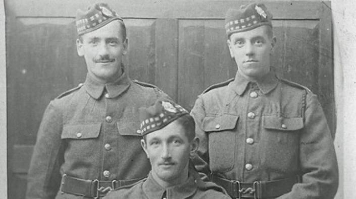 Alexander Lawrie (centre) and Royal Scots comrades, circa 1915