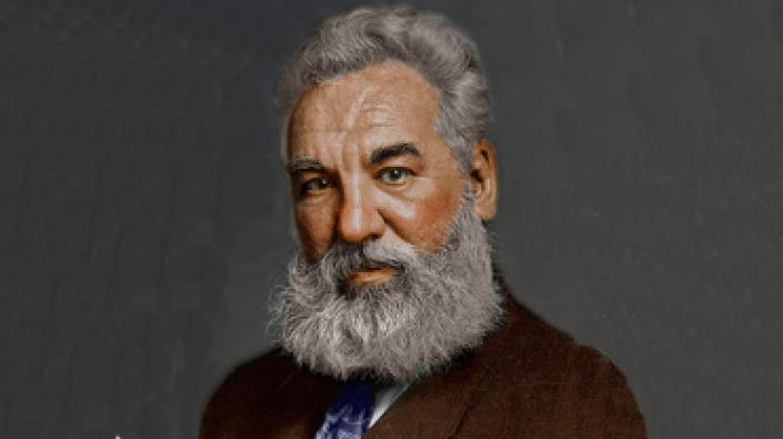 A colourised photograph of Alexander Graham Bell