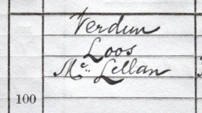 Detail from the birth entry of Verdun Loos McLellan