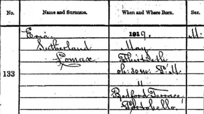 Detail from Eric Lomax's birth entry