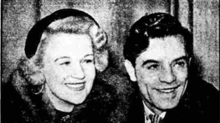A photograph of Jack Milroy and his wife Mary Lee announcing their engagement in the Aberdeen Evening Express, 17 October 1952