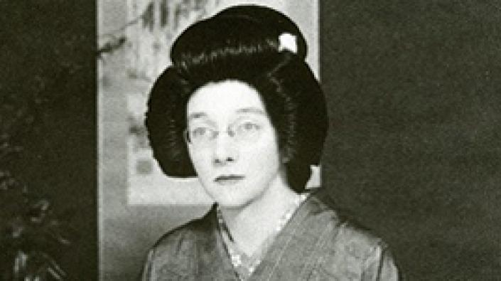 Detail of a photograph of Rita Cowan in early twentieth century Japanese Kimono