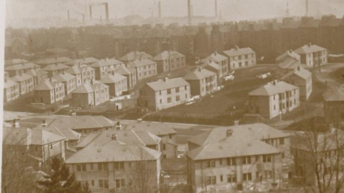 Detail from a photograph of the Logie Housing Estate