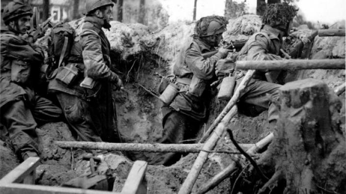 British airborne troops in a bomb crater at Arnhem, 17 September 1944