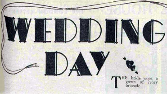 A detail from a newspaper article with the headline 'wedding day.'