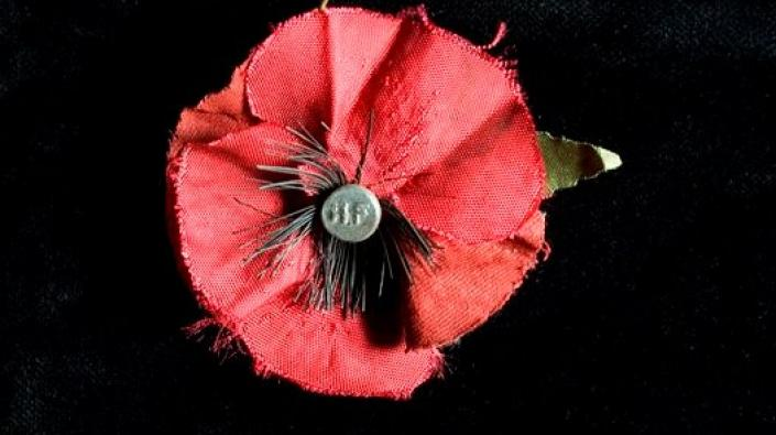 A red cloth poppy