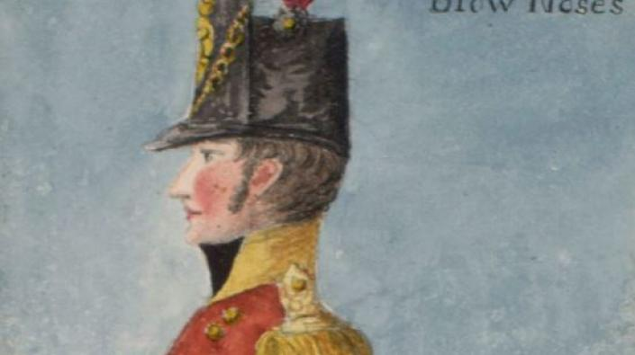 Detail from a coloured drawing of a soldier