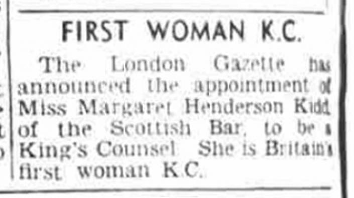 The announcement of Margaret Henderson Kidd being appointed as King's Counsel