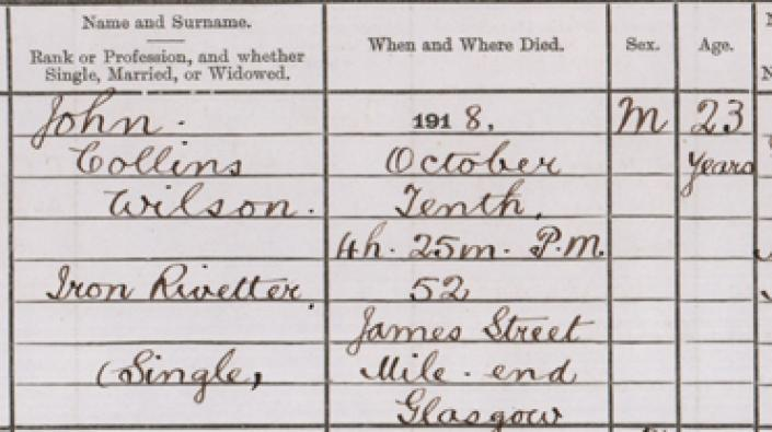 Detail from a page of influenza deaths in Glasgow, 1918