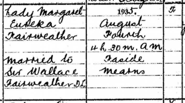 Detail from the death entry of Lady Margaret Eureka Fairweather, 4 August 1935