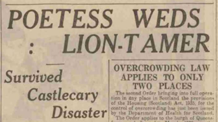 Headline from the report of the wedding of Alfred Kaden and Vera Husing,'The Dundee Courier', 6 January 1938.