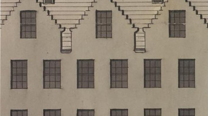 Detail from a drawing of the elevation of a tenement on King Street, Glasgow
