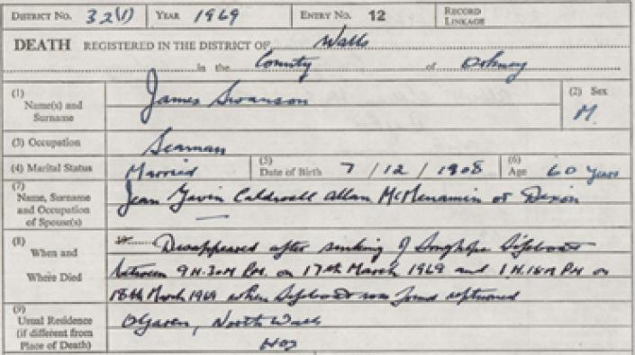 Detail from the death entry of James Swanson who died 17th or 18th March 1969.
