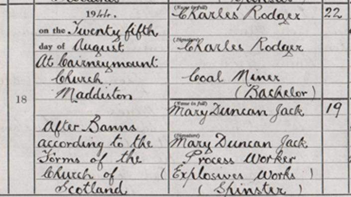 Detail from the marriage entry of Charles Rodger and Mary Duncan Jack at Cairneymount Church, 25th August 1944.