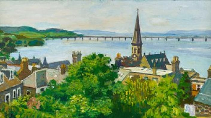 Detail of Alberto Morrocco's painting 'Tay Bridge from Newport'. Copyright the Estate of Alberto Morrocco. Image courtesy of The Scottish Gallery, Edinburgh