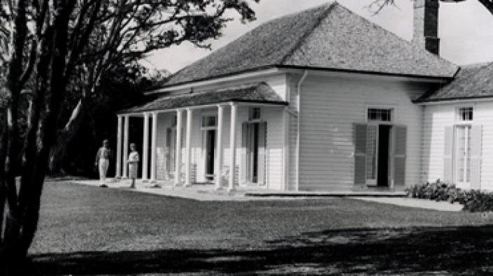 A photograph of James Busby's home where the Treaty of Waitangi was signed