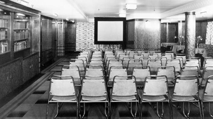 Photograph of the Third Class Cinema on board the Cunard Line ocean liner RMS Queen Mary