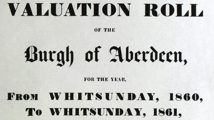 Title page of the valuation roll, Burgh of Aberdeen, 1860-1