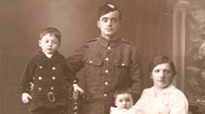A Corporal in uniform with his family