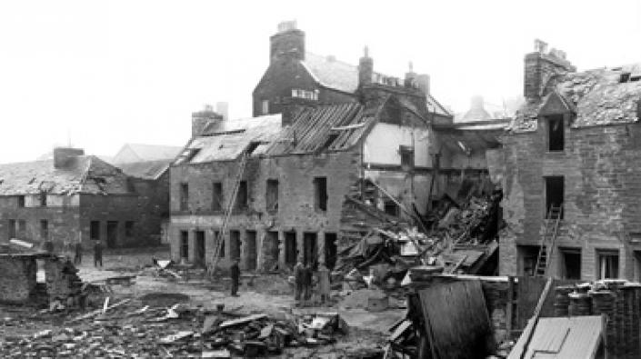 Detail from a photograph of the damage done to Bank Row, Wick, following bombing on 1 July 1940