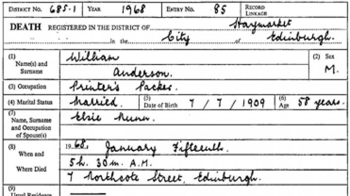 Detail from the death entry of William Anderson