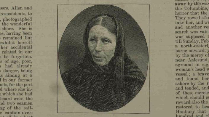 A photograph of Elizabeth Mouat from The Illustrated London News, March 13 1886