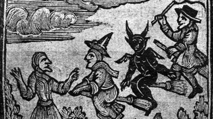 Detail of woodcut of witches flying on broomsticks. The History of Witches and Wizards, 1720.