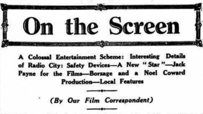 Film review column from the Edinburgh Evening News, 26 May 1932