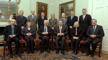 A photograph of the 2005 Scottish Cabinet with the Permanent Secretaryinside Bute House, Edinburgh